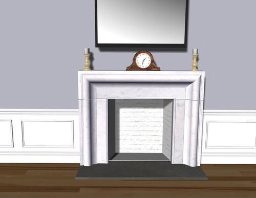 Honed White Carrara Marble Fireplace