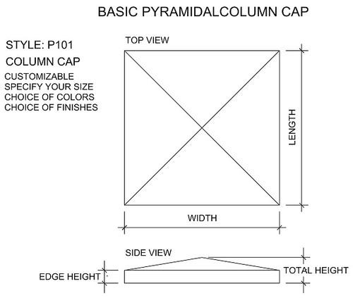 Pyramidal column or pier cap drawing