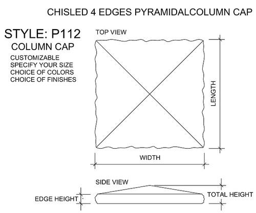 Pyramidal Column Cap With Chiseled Edges - Drawing