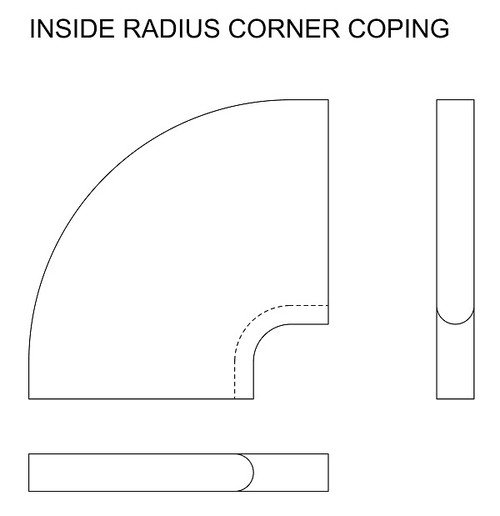 Example drawing of limestone inside radius corner swimming pool or spa coping with bull nose edge. Available in limestone, bluestone, sandstone, granite, marble, travertine, made in USA, shipped nationwide.