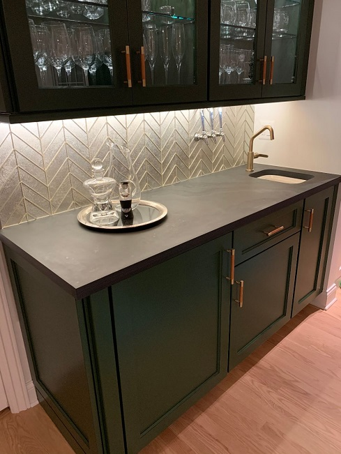 Honed black slate bar counter top with sink