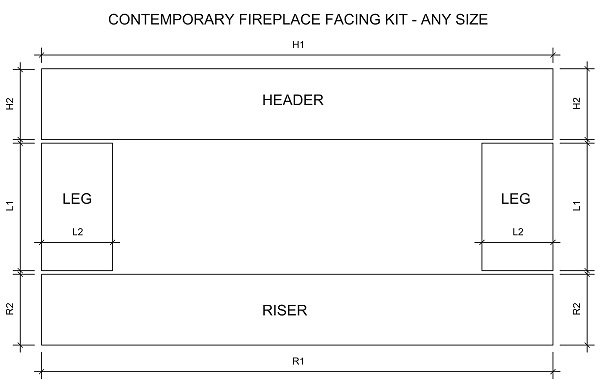 Contemporary wide fireplace facing kit