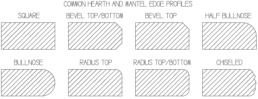 Common hearth and mantel profiles