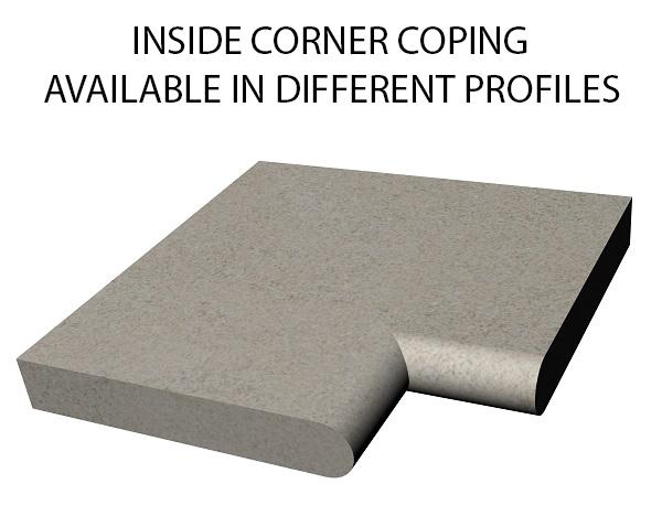 Inside corner bull nose swimming pool and spa coping Standard swimming pool coping and spa coping profiles