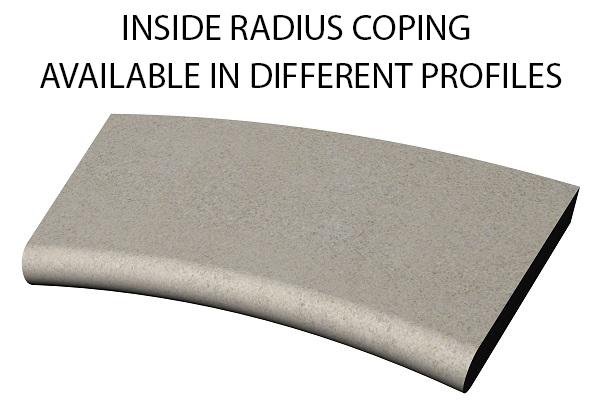 Inside radius bull nose swimming pool and spa coping Standard swimming pool coping and spa coping profiles