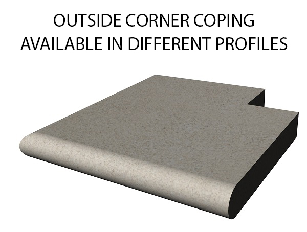 Outside corner bull nose swimming pool and spa coping Standard swimming pool coping and spa coping profiles