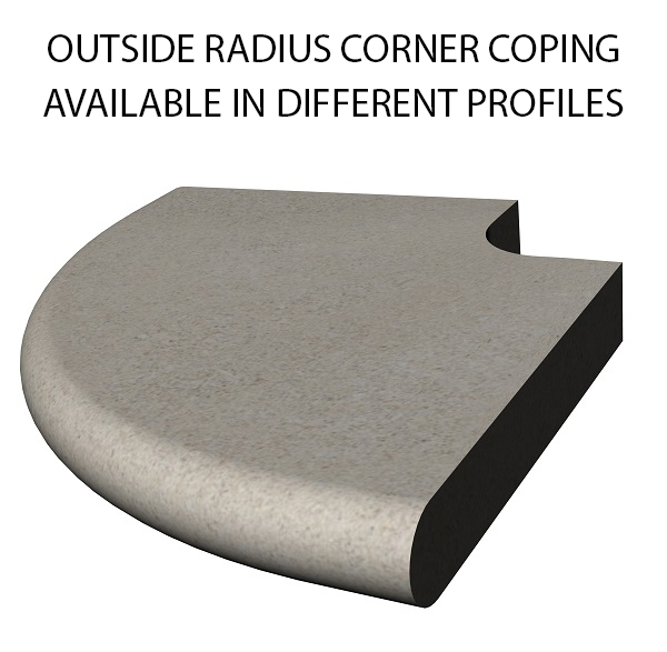 Outside Radius Corner Coping bull nose swimming pool and spa coping Standard swimming pool coping and spa coping profiles