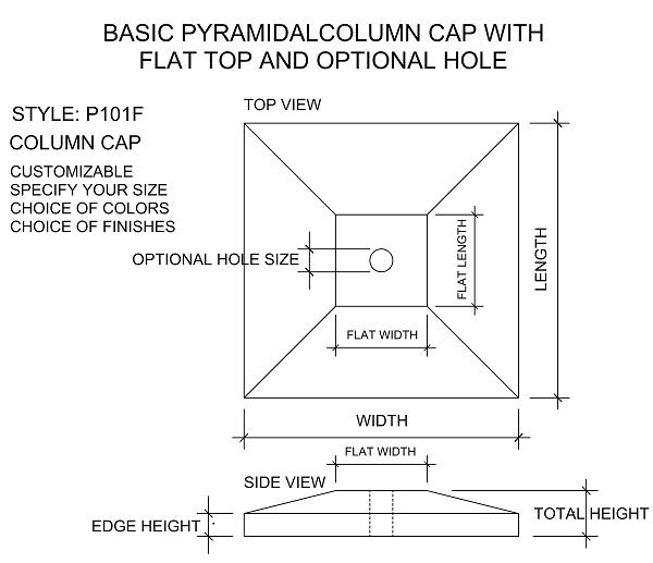 Pyramidal Column Cap with flat top; pier cap; pillar cap; post cap.