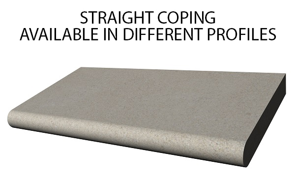 Straight Swimming Pool Coping, straight, inside radius, outside radius, corner, radius corner, metered, custom, bull nose, square, chiseled, rock face, half bull nose, full bull nose, beveled, remodel coping, stepped coping, safety coping raised edge coping,