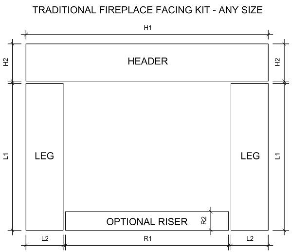 Traditional fireplace facing kit