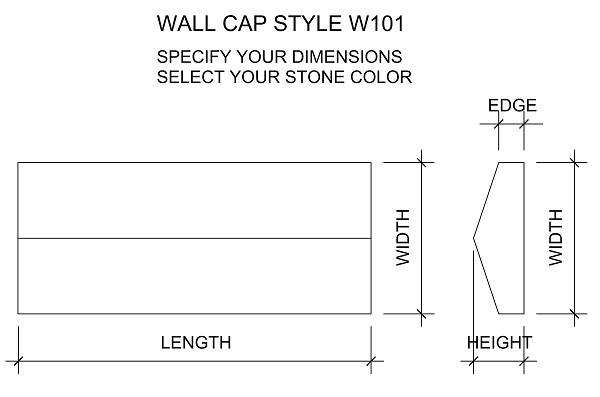Peaked wall cap drawing with chiseled edges. Available in limestone, bluestone, sandstone, granite, marble, travertine, made in USA, shipped nationwide.