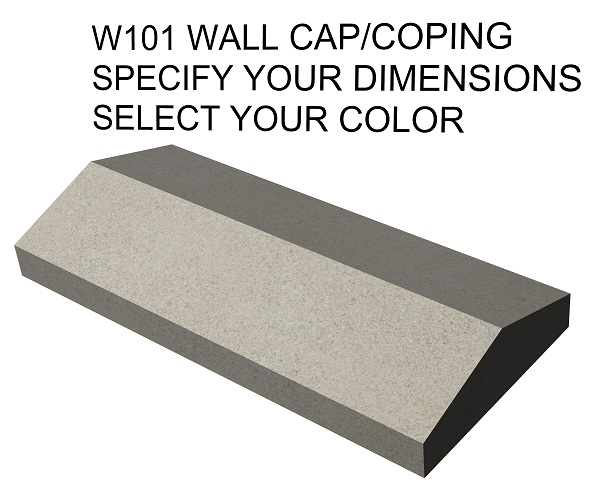 Example of limestone peaked wall cap drawing with chiseled edges. Available in limestone, bluestone, sandstone, granite, marble, travertine, made in USA, shipped nationwide.