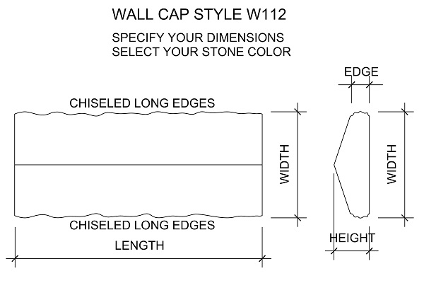 Peaked stone wall cap or wall coping, chiseled edges, any size, limestone, sandstone, bluestone, marble, granite, travertine
