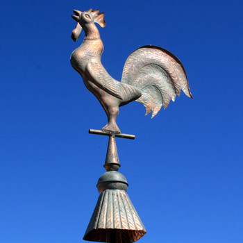 Copper Rooster Rooftop Finial