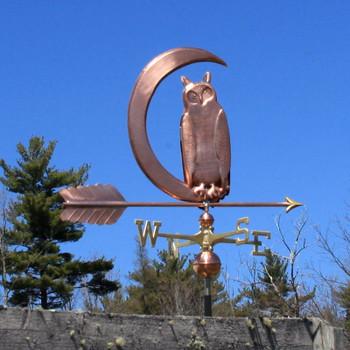 Owl in Moon Weathervane