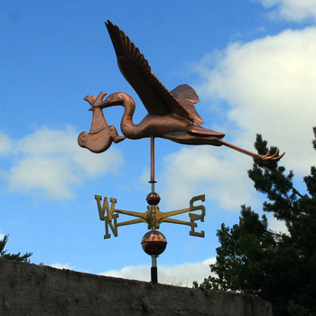 Large Copper Stork and Baby Weathervane 120