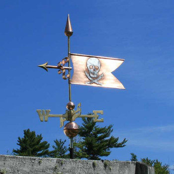 skull and swords banner weathervane