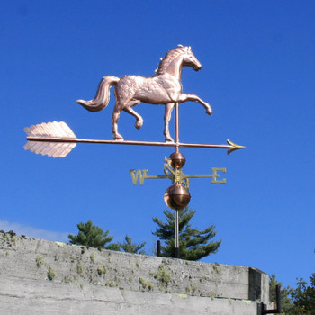Horse Weathervane right side on blue sky