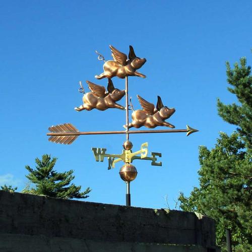 Three Flying Pigs Weathervane