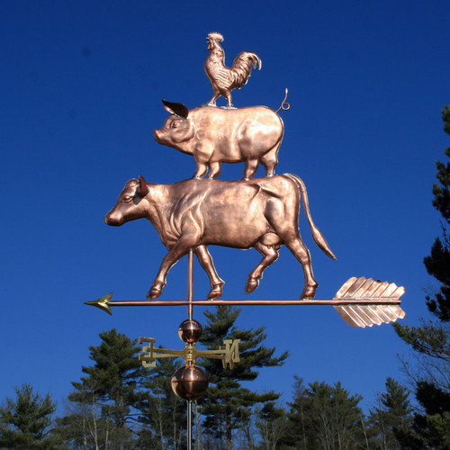 Cow, Pig and Rooster Weathervane/ Large Barnyard Weathervane