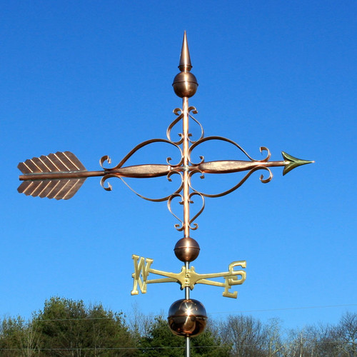 large scrolled arrow weathervane
