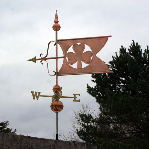 large shamrock banner weathervane