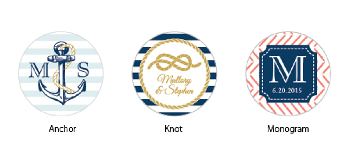 Nautical Wedding 2 Personalized Round Stickers