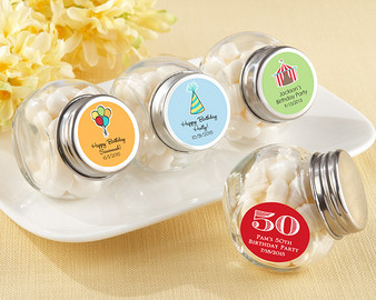 Mini Glass Favor Jar - Birthday (Set of 12) (See Description to design your label)