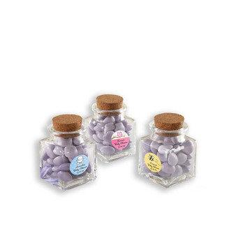 """Petite Treat"" Square Glass Favor Jar - Baby (See description to design your label)"