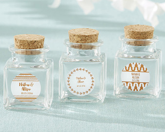 Petite Treat Square Glass Favor Jar - Copper Foil (Min 24)