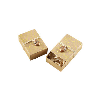 Gold Foil Leaf Favor Box with Acorn Charm (Set of 24)
