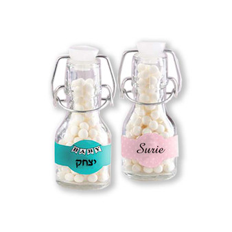 Mini Glass Favor Bottle with Swing Top - Baby (Set of 12) (See description to design your label)