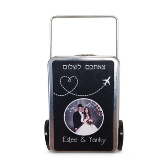 SUITCASE FAVOR TINS with personalized label