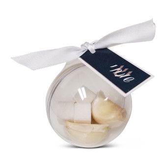 Acrylic Ball Pidyon Haben Favor with ribbon & tag (Garlic & sugar not included.)