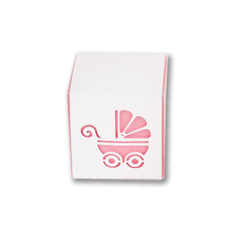 Baby Girl carriage wrap favor box