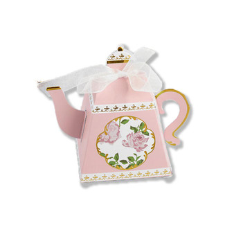 TEA TIME WHIMSY TEAPOT FAVOR BOX - PINK (SET OF 24)