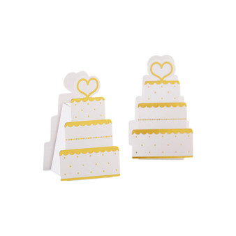 GOLD WEDDING CAKE FAVOR BOX (SET OF 12)
