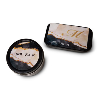 Black Marble Mint Tins, Rectangle or Round (Mints Not Included)