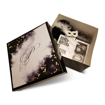 Black 6x6x3 Gift Box with Optional Luxury Black Marble  Label