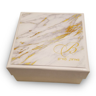 White 6x6x3 Gift Box with Optional Marble Label