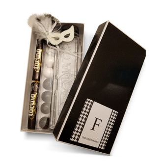 """Black Rectangle Box 9 x 4 1/2 x 2"""" with Optional Label"""