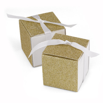 Glitter Wrap - Favor Boxes - Gold