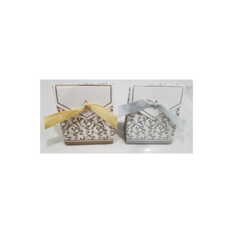 Swirl Design Tent Favor Box, Silver or Gold (Sold in Packs of 12) Ribbon Included