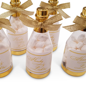 Gold Metallic Champagne Bottle Favor, also available in silver (Please specify label color in special instructions)