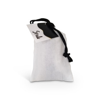 """White Muslin Aufruf Bag with Black Drawstring & Personalized Tag  """"3x5"""""""
