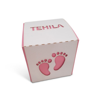 Personalized Baby Footprint Favor Box, (Additional Colors Available)