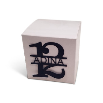 Personalized Bas Mitzvah Favor Box with Lasercut 12 with name