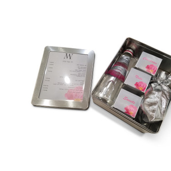 Pink Floral Welcome Package in Silver Tin Box