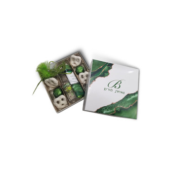 Green Agate Monogrammed Purim Box 4 Sizes Available