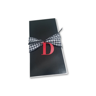 "Black Rectangle Box 9 x 4 1/2 x 2"" with acrylic initial, Ribbon Sold below"